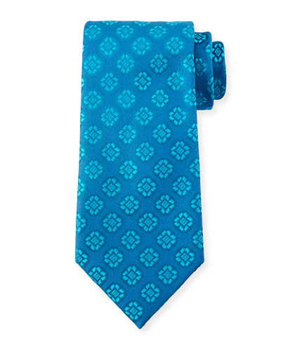Medallion-Print Silk Tie, Light Blue