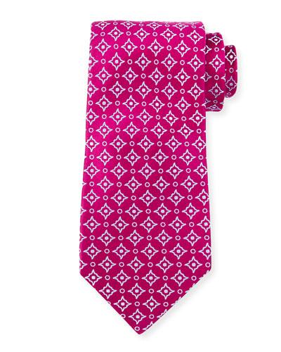 Diagonal Square & Dot-Print Silk Tie, Magenta