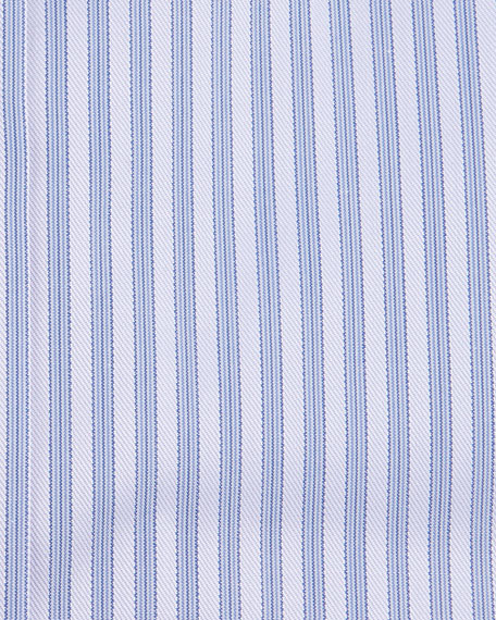 Striped Barrel-Cuff Dress Shirt, Purple