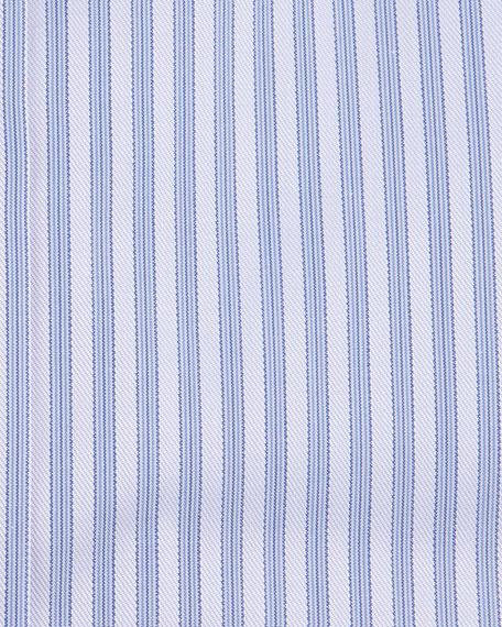 Striped Barrel-Cuff Dress Shirt, Purple
