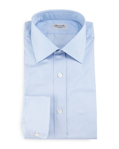 Charvet Thin-Striped Dress Shirt, Light Blue
