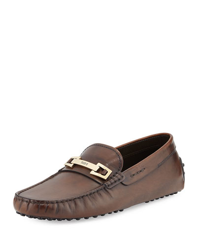 Burnished Bit Strap Loafer, Brown