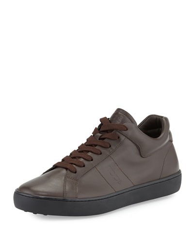 Leather Lace-Up Low-Top Sneaker, Brown