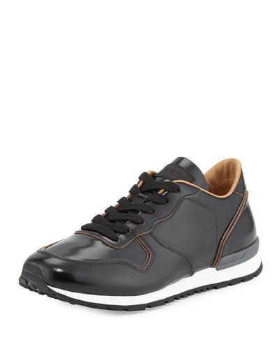 Runner Leather Sneaker, Black