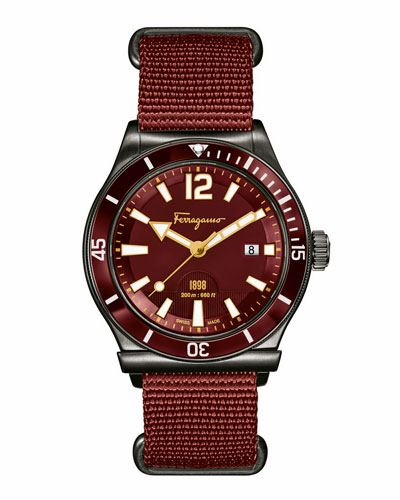 Ion-Plated Watch with Nylon Strap, Rust