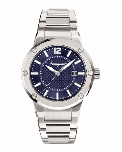 44mm Stainless Steel Watch, Blue
