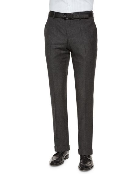 Boss Hugo Boss Houndstooth Slim-Fit Wool Trousers, Charcoal