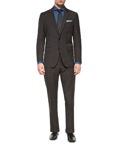 Genius Melange Houndstooth Two-Piece Suit, Dark Brown