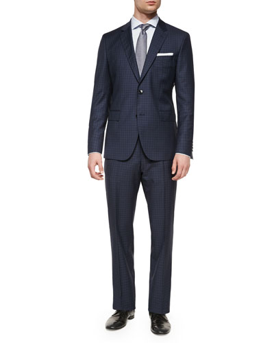 Check-Plaid Two-Piece Wool Suit, Blue