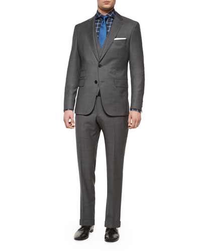 Three-Piece Nailhead Wool Suit, Gray