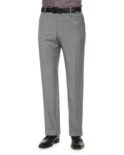 Solid Slim-Fit Wool Trousers, Light Gray