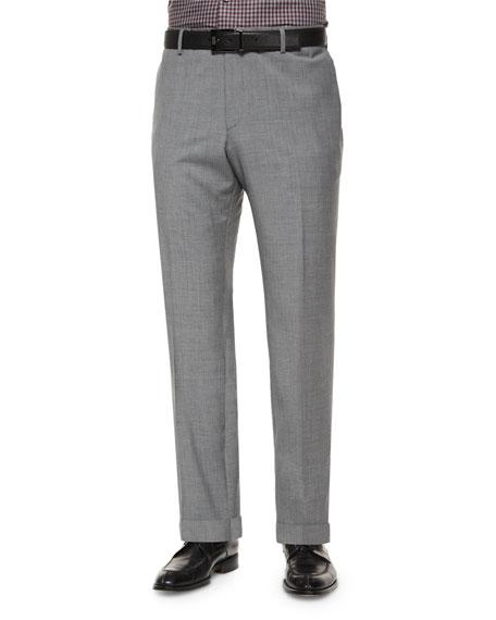 Boss Hugo Boss Solid Slim-Fit Wool Trousers, Light