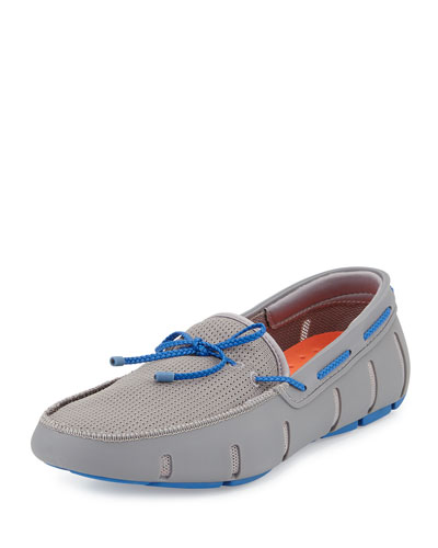 Braided Bow Water-Resistant Loafer, Gray