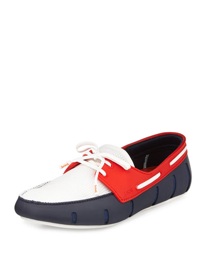 Multicolor Water-Resistant Rubber Loafer, Blue/White/Red