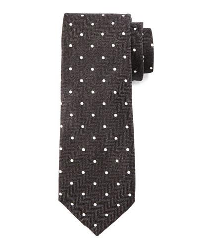 Herringbone-Dot Print Tie, Black