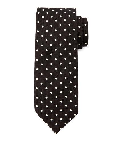 Mini-Dot Silk Tie, Black