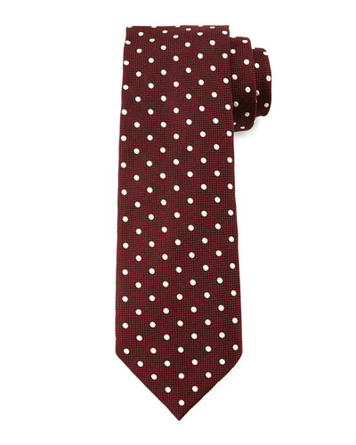 Mini-Dot Print Tie, Red