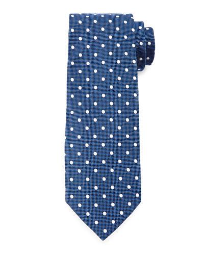 Mini-Dot Print Silk Tie, Blue