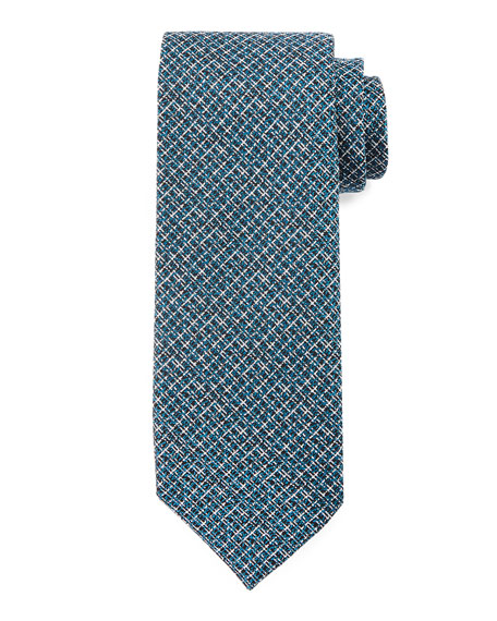 TOM FORD Textured Stripe Silk Tie, Navy