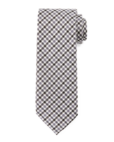 Houndstooth-Stripe Printed Tie, Black