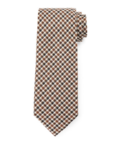 Houndstooth-Stripe Tie, Brown