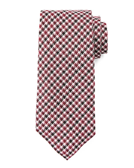 Houndstooth-Striped Tie, Red