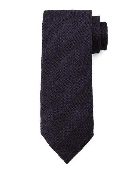 Stripe Pattern Silk Tie, Blue/Black