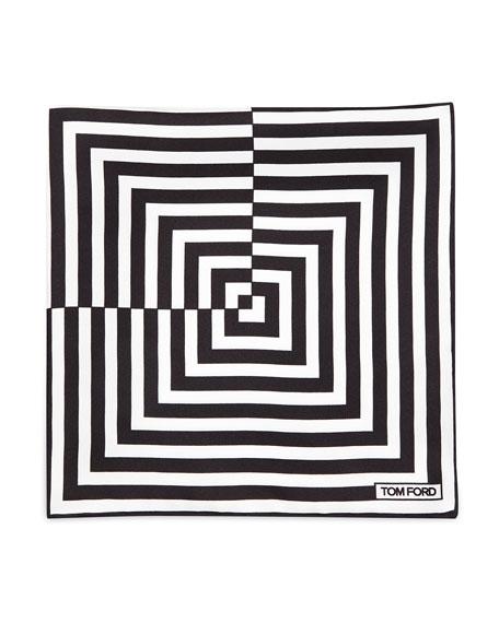 Linear Pattern Pocket Square, Black/White
