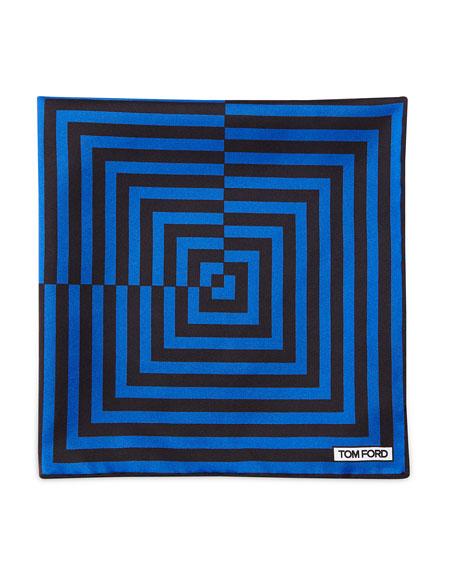 Linear Pattern Pocket Square, Brown/Blue