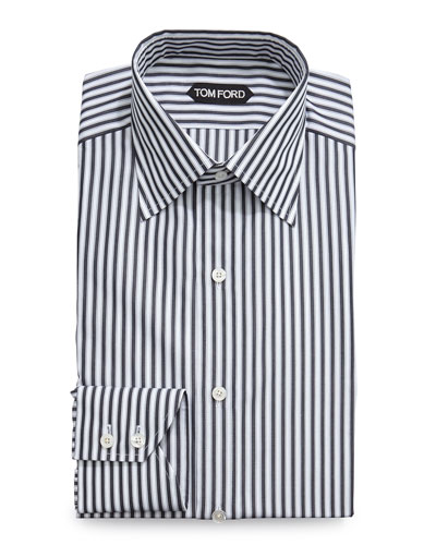 High Definition Striped Dress Shirt, Black