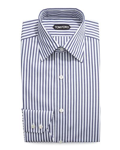 High Definition Striped Dress Shirt, Navy