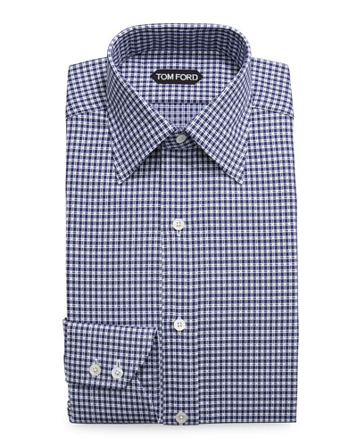 Optical Check Dress Shirt, Navy