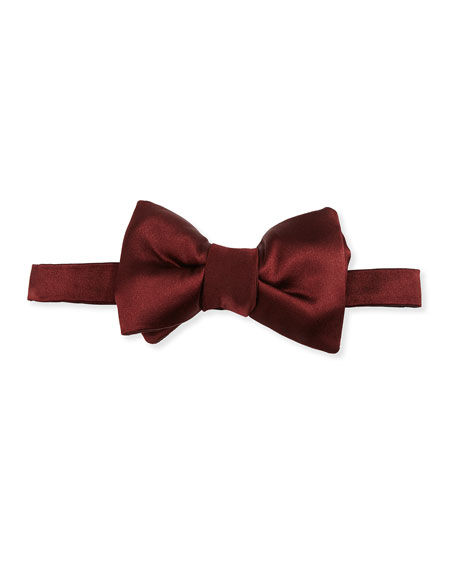 TOM FORD Solid Satin Bow Tie, Red