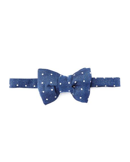 TOM FORD Herringbone Polka-Dot Bow Tie, Blue