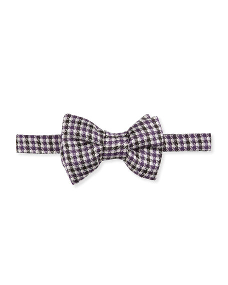 Houndstooth Stripe Bow Tie, Purple