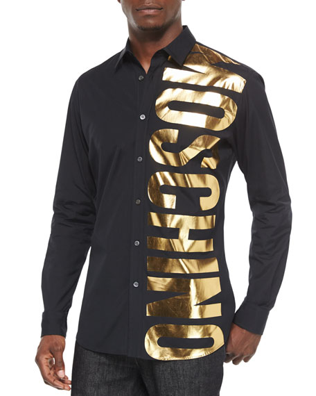 Moschino Gold Logo Long-Sleeve Shirt, Black