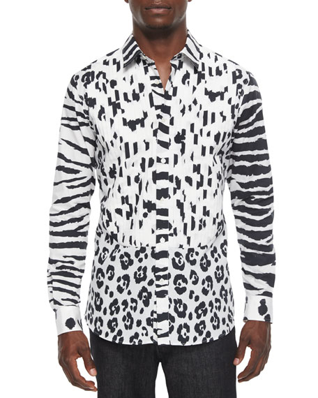 Moschino Animal-Print Long-Sleeve Woven Shirt, Black