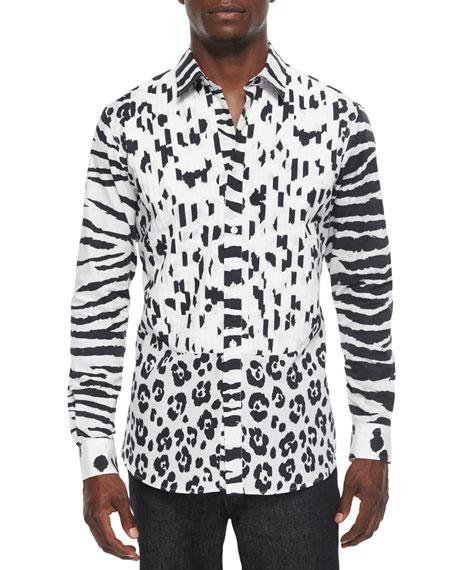 Moschino Animal-Print Long-Sleeve Woven Shirt, Black