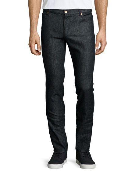 Moschino Five-Pocket Jeans with Gold Logo, Black