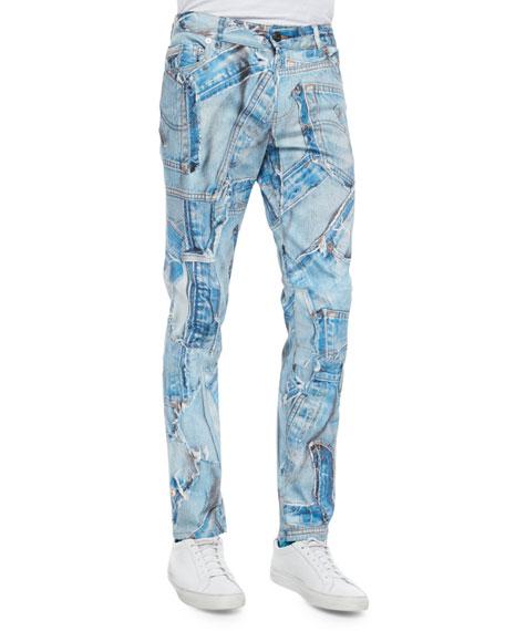 Moschino Patchwork Jean-Piece Denim Jeans, Blue