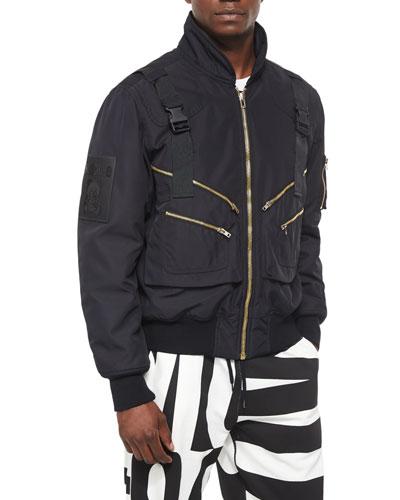 Long-Sleeve Bomber Jacket, Black
