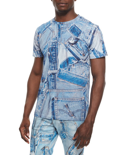 Short-Sleeve Jean-Piece Tee, Blue