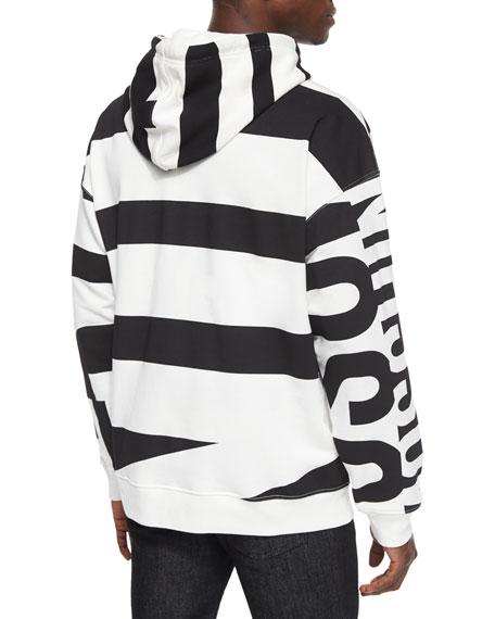Moschino Large Logo-Print Hoodie, Black/White