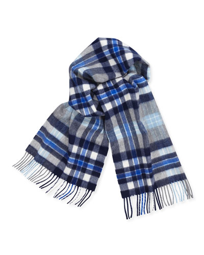 Cashmere Plaid Scarf w/ Fringe, Blue/White/Gray