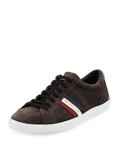 Moncler Monaco Striped Suede Low-Top Sneaker, Gray