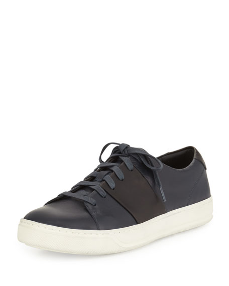 Vince Armstrong Leather Low-Top Sneaker, Navy/Black