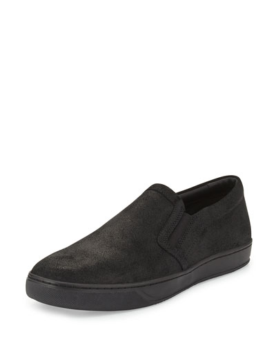 Barron Leather Slip-On Skate Sneaker, Black