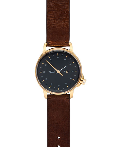 Miansai M12 Swiss-Made Watch with Leather Strap, Cognac