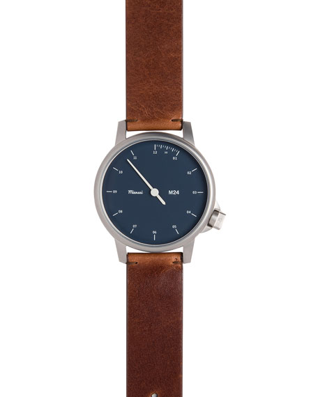 Stainless Steel Watch with Leather Strap, Brown