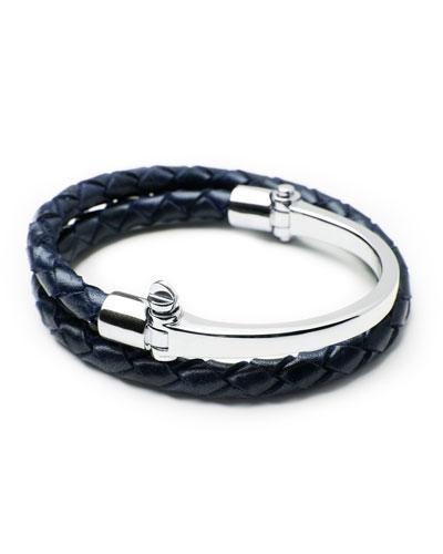 Half-Cuff with Woven Bracelet, Navy